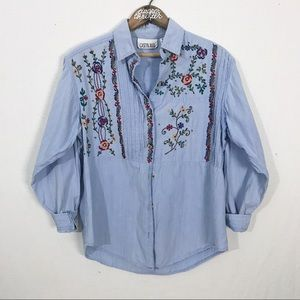 Vintage Casey & Max Chambray Button Down Top